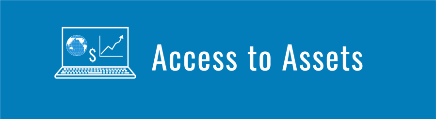 Banner for Access to Assets page. Laptop computer with WID globe and line graph with dollar sign.