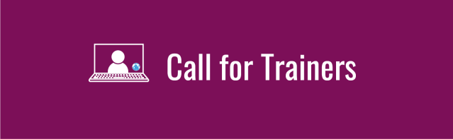 "Deep magenta banner with text, ""Call for Trainers"". Icon of laptop with a person onscreen with tiny WID globe in corner of the screen."