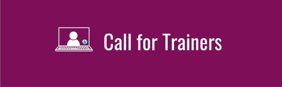 """Deep magenta banner with text, """"Call for Trainers"""". Icon of laptop with a person onscreen with tiny WID globe in corner of the screen."""
