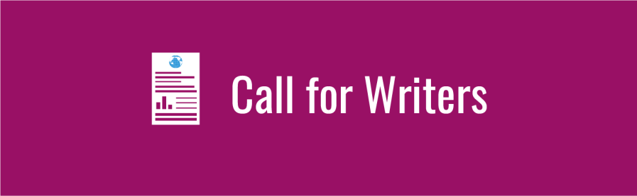 Text: Call for Writers. Icon of a report with WID globe at top. Magenta background.