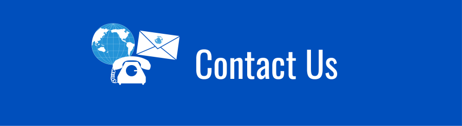 Banner for Contact Us page. Telephone, envelope, and WID globe icons.