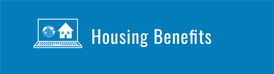Banner for Housing Benefits page. Laptop computer with WID globe and house icons.