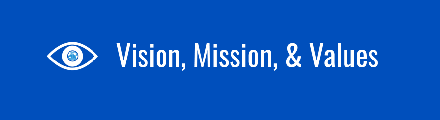 Banner for Vision mission and Values page. Eye with WID globe as the pupil.
