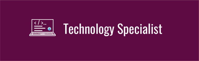 Text overlay: Technology Specialist. Deep violet background with computer icon displaying code.