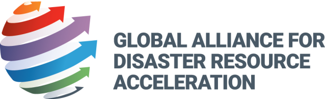 Rainbow logo for Global Alliance for Disaster Resource Acceleration with 6 arrows (one each color - orange, red, purple, blue green, and gray) wrapping around an abstract globe. Gray text.