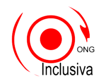 ONG Inclusiva logo. Red circle with circular swirl surrounding it. Black text.