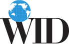 "World Institute on Disability logo. Blue globe on top of ""WID"" in black text."