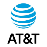 AT&T logo. Blue abstract globe.