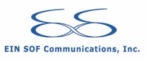 EIN SOF Communications, Inc. logo. Blue looping E and S combined into infinity symbol.