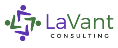 LaVant Consulting logo. Abstract purple and green people make up 4 corners of a square.