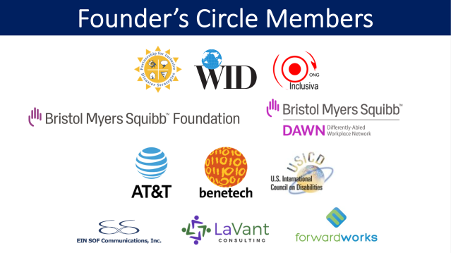 Text at top: Founder's Circle Members. Logos for: the Partnership for Inclusive Disaster Strategies, WID, ONG Inclusiva, Bristol Myers Squibb Foundation, Bristol Myers Squibb Differently-Abled Workplace Network (DAWN), AT&T, Benetech, U.S. International Council on Disabilities, EIN SOF Communications, Inc., LaVant Consulting, and ForwardWorks.