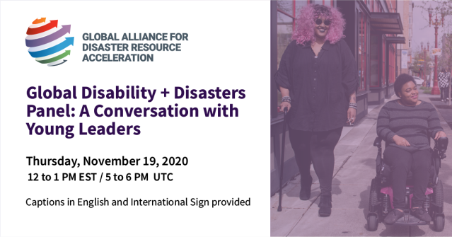 Event graphic with text and photo. Text repeated in body of the post. Photo: 2 Black and disabled people strolling down a sidewalk side by side. On the left, a non-binary person walks with a cane in one hand and a tangle stim toy in the other. In the middle, a woman rolls along in her pink power wheelchair. Photo by Disabled and Here.